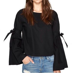 FREE PEOPLE NWOT black button back bell sleeve top
